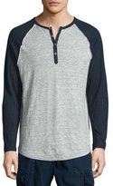 True Religion Colorblock Raglan-Sleeve Linen Henley T-Shirt, Heather Gray