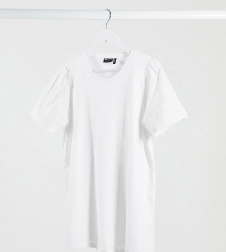 Asos DESIGN Maternity nursing t-shirt with broiderie sleeve detail in white