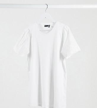 Asos Maternity   Nursing ASOS DESIGN Maternity nursing t-shirt with broiderie sleeve detail in white