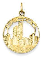 BSE 14k Yellow Gold Chicago Skyline Charm (18 x 24.5 mm)