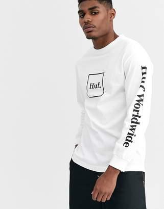 HUF Domestic box logo long sleeve t-shirt with arm print in white