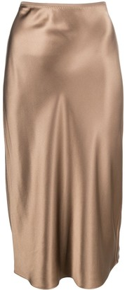 Joseph Silk Fitted Midi Skirt