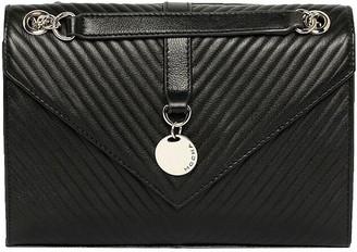 Mocha Chevron Envelope Leather Crossbody Bag - Black