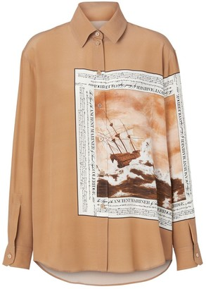 Burberry Mariner Print Silk Oversized Shirt