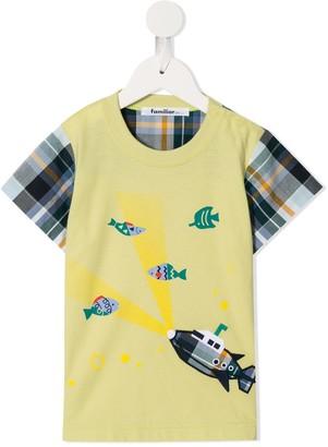 Familiar checked sleeve T-shirt