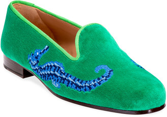 Stubbs And Wootton Seahorse Embroidered Velvet Slipper Loafers