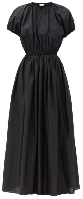 Matteau Gathered Cotton-poplin Maxi Dress - Black