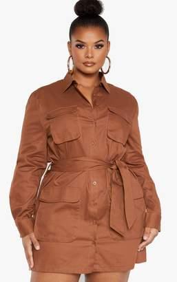 PrettyLittleThing Plus Chocolate Brown Utility Shirt Dress