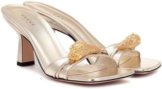 Gucci Tiger Head metallic leather sandals