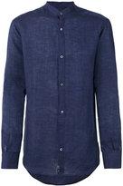 Ermenegildo Zegna long sleeved collarless shirt - men - Linen/Flax - S