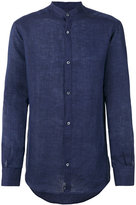 Ermenegildo Zegna long sleeved collarless shirt - men - Linen/Flax - XL