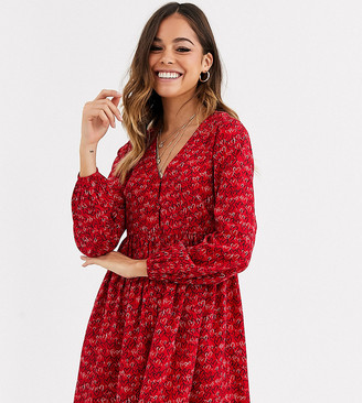 Wednesday's Girl button front smock dress in scribble heart print-Red