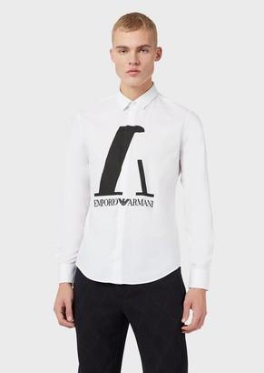 Emporio Armani Stretch Cotton Shirt With Maxi Logo
