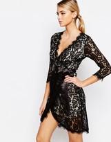 TFNC Wrap Front Lace Dress with Eyelash trim