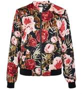 Hallhuber Satin bomber jacket with rose print