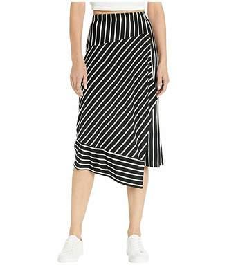 Kensie Lightweight Viscose Spandex Printed Strip Faux Wrap Skirt KS7K6275