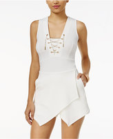 Material Girl Juniors' Chain-Detail Lace-Up Skort Romper, Created for Macy's