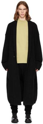 Isabel Benenato Black Merino Wool and Yak Double Layer Coat