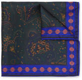 Etro Paisley-print Silk-twill Pocket Square - Green