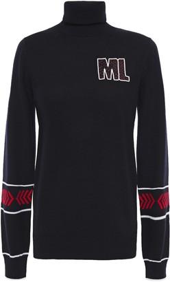 Markus Lupfer Emma Appliqued Intarsia Merino Wool Turtleneck Sweater