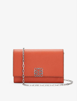 Loewe Anagram-embellished grained-leather wallet-on-chain