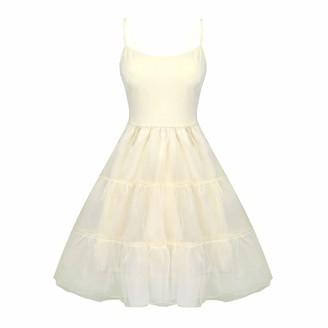 Kaerm Womens Full Slip for Under Dress Adjustable Spaghetti Strap Knee Length Crinoline Petticoat Underskirt Beige XL