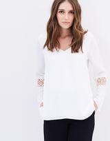 Wallis Crochet Insert Sleeve Top