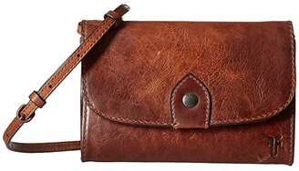 Frye Melissa Wallet Crossbody (Cognac Antique Pull-Up) Cross Body Handbags