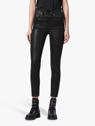 AllSaints Dax Coated High Rise Skinny Jeans, Black