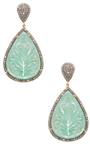 Silver, Carved Aventurine & 2.55 Total Ct. Diamond Teardrop Earrings