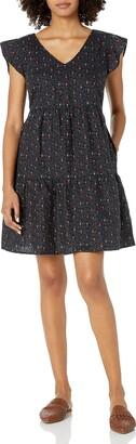 Goodthreads Amazon Brand Women's Relaxed Fit Washed Linen Blend Flutter Sleeve Peasant Dress