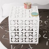 Geometric Pattern Side Table - White