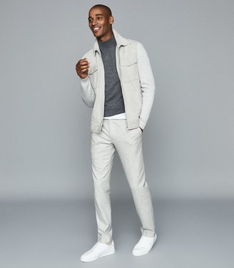 Reiss Meadow - Suede Jacket With Knitted Sleeves in Soft Grey