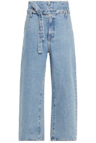 Thumbnail for your product : Current/Elliott Cropped Belted High-rise Wide-leg Jeans