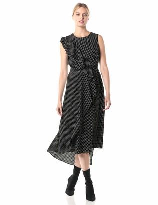 BCBGMAXAZRIA Women's Dots Asymmetric Ruffle Dress