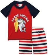 Sweet & Soft Little Boys Shark Surfing Rash Guard Stripe Swim Trunk Set