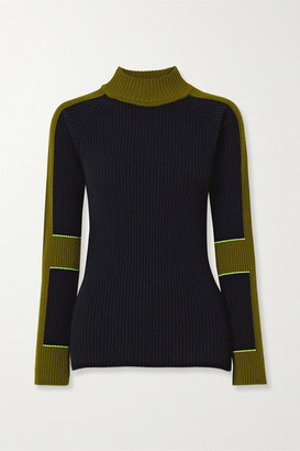 Victoria Beckham Color-block Ribbed Wool And Cashmere-blend Turtleneck Sweater - Navy