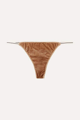 Love Stories - Room Service Velvet And Lace Thong - Bronze