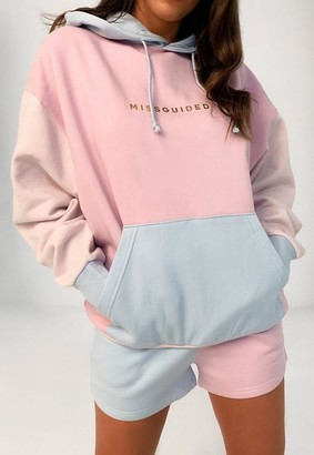 Missguided Pink Colour Block Oversized Hoodie