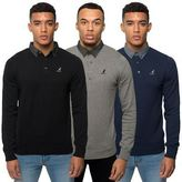 Kangol Mens Knit Jumper Button Up Polo Collar Knitwear Long Sleeve Casual Top