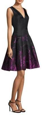 Carmen Marc Valvo Floral Skirt Fit-and-Flare Dress