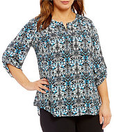 Gibson & Latimer Plus 3/4 Sleeve Multi-Printed Blouse