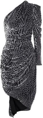Giuseppe di Morabito Leopard-devore asymmetric midi dress