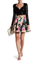 City Triangles Sequin Lace Blouse & Floral Skirt Set