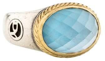 David Yurman Blue Topaz Signature Oval Ring