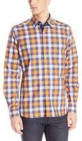 Stone Rose Men's Melange Check Long Sleeve Button Down Shirt