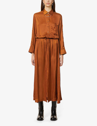 Zadig & Voltaire Radial drawstring-waist satin-crepe midi dress
