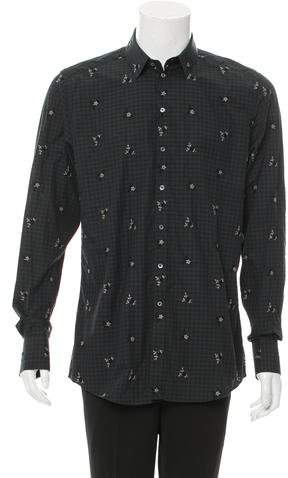 Dolce & Gabbana Floral-Embroidered Gingham Shirt w/ Tags