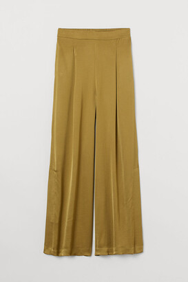 H&M Wide-cut Side-slit Pants - Green