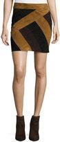 Derek Lam 10 Crosby Colorblock Suede Mini Skirt, Military/Multicolor